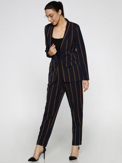 Dark Blue Lapel Collared Striped Blazer