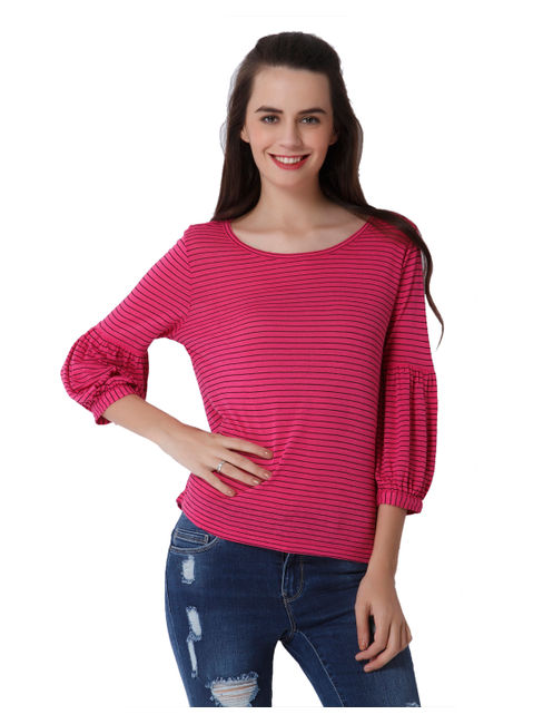 Pink Striped Balloon Sleeves Top