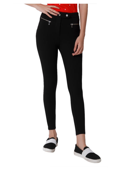 Black Zip Detail Mid Rise Skinny Fit Leggings