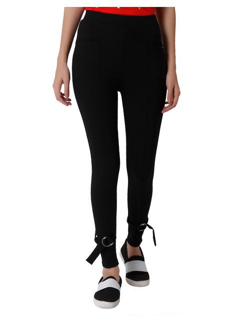 Black Buckle Detail Slim Fit Leggings