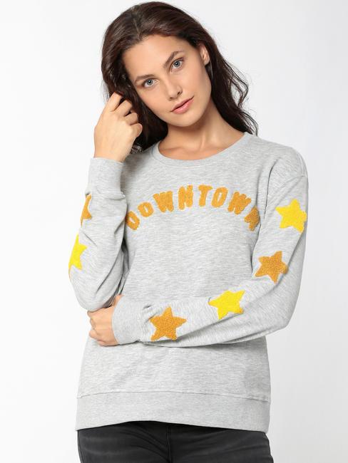Light Grey Text Embroidered Sweatshirt