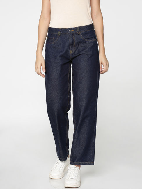 Dark Blue Mid-Rise Denim Culottes