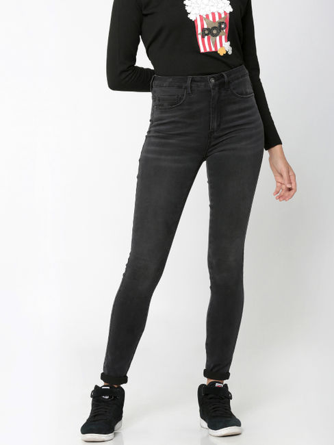 Black High-Waist Skinny Fit Jeans