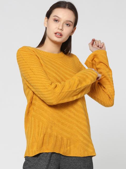 Mustard Flared Sleeves Pullover