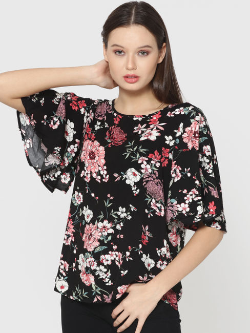 Black Floral Print Batwing Sleeves Top