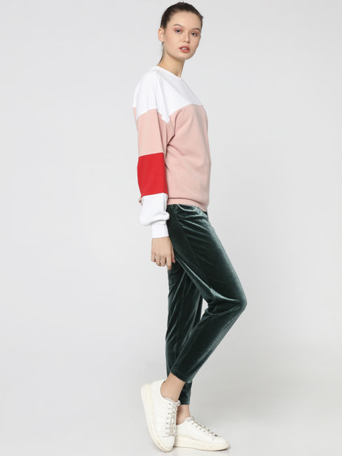 Pink Colourblocked Sweatshirt