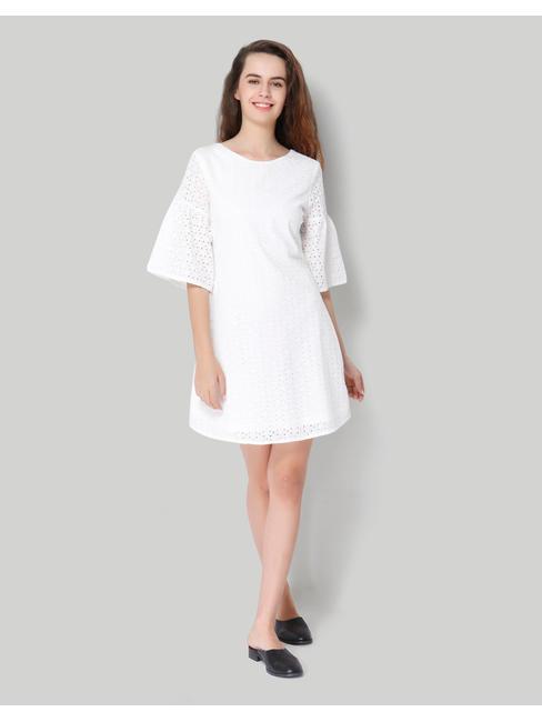 White 3/4Th Bell Sleeve Cotton Cutwork Short Shift Dress