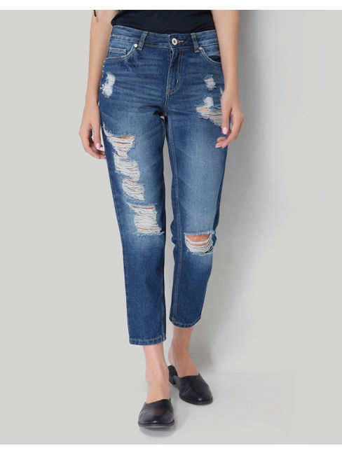 Dark Blue Mid Rise Distressed Comfort Fit Ankle Length Denim