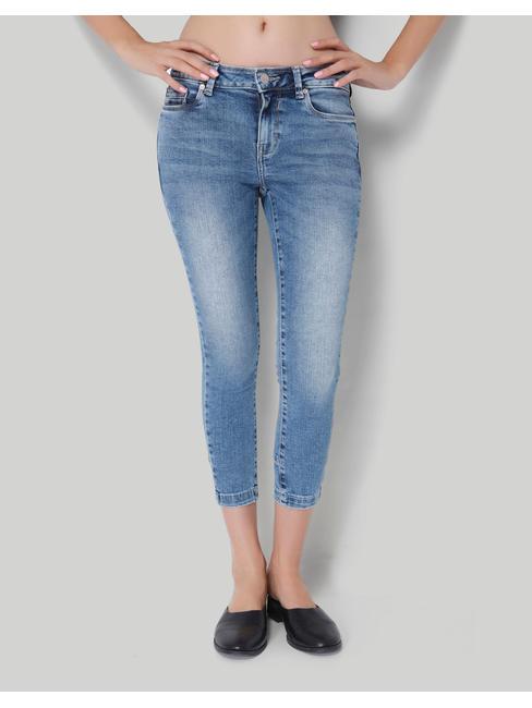 Blue Skinny Ankle Length Denim