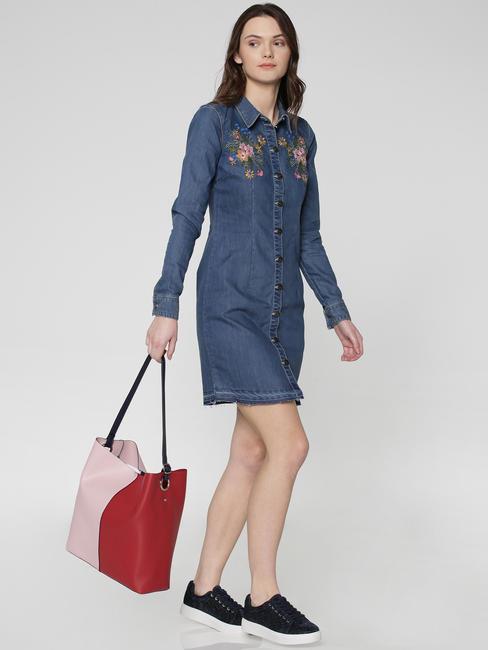 Blue Embroidered Denim Shirt Dress