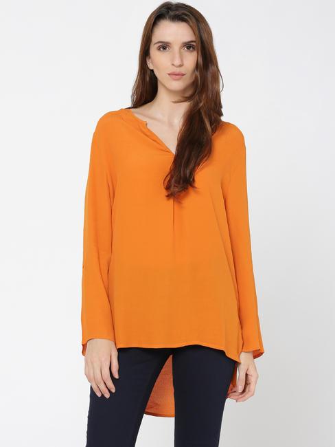Orange High Low Top