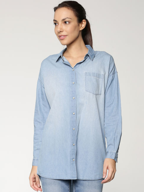Blue High Low Denim Shirt