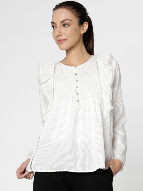 White Ruffle Detail Flared Sleeves Top