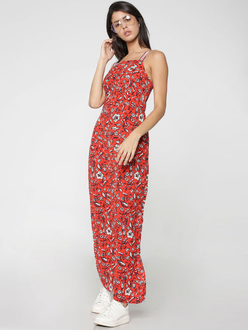 Red Floral Printed Maxi Dress