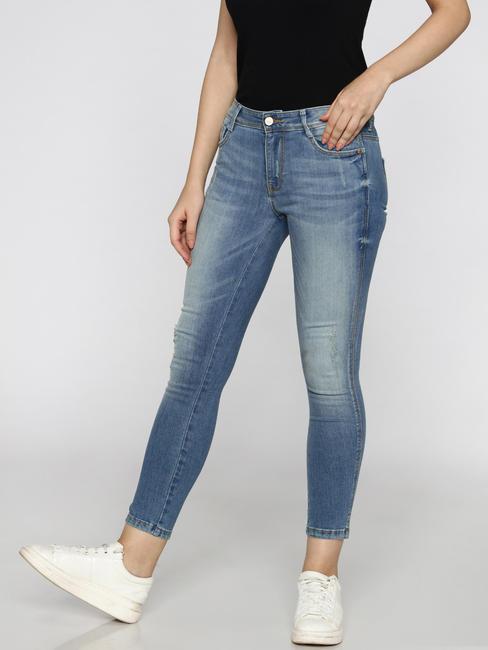 Light Blue Mid Rise Washed Side Slit Ankle Length Skinny Fit Jeans