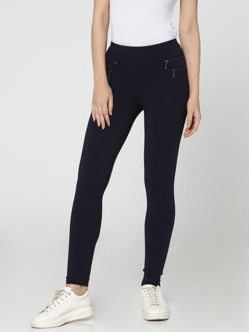 Dark Blue Mid Rise Zip Detail Skinny Fit Leggings