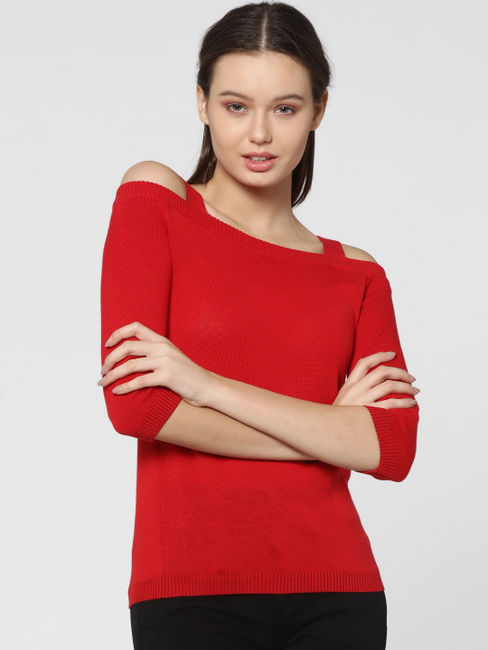 Red Cold Shouder Pullover
