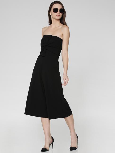 Black Front Twist Off Shoulder Culotte Jumpsuit