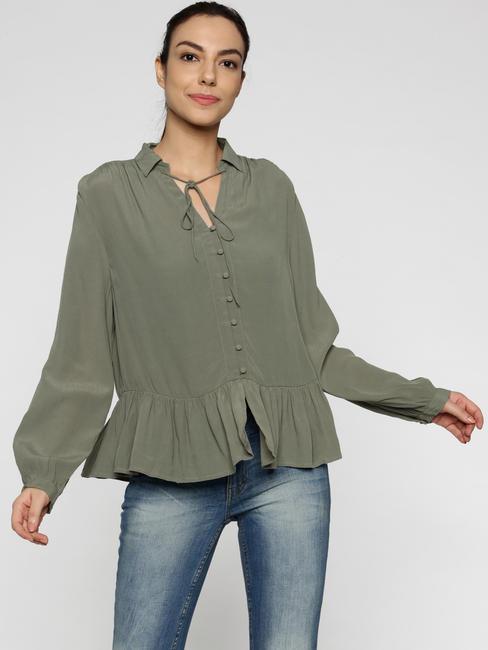 Green Frill Bottom Shirt