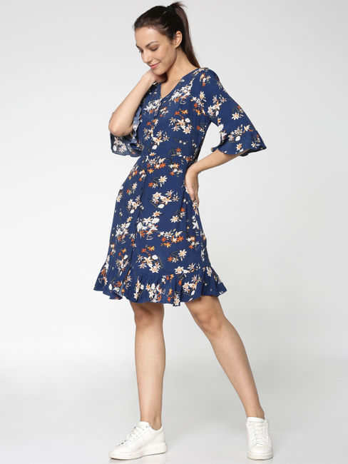 Blue All Over Floral Print Flared Sleeves Fit & Flare Dress