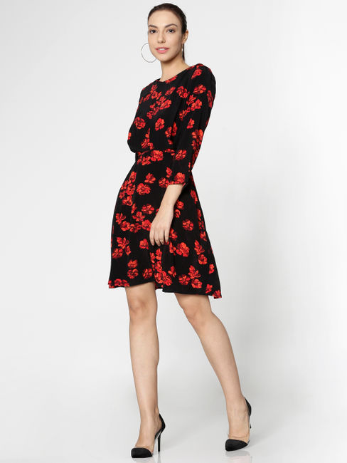 Black All Over Floral Print Fit & Flare Dress