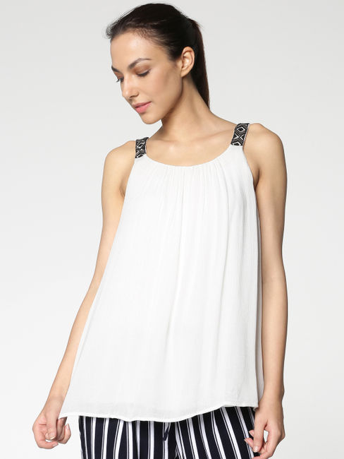 White Embellished Straps Top