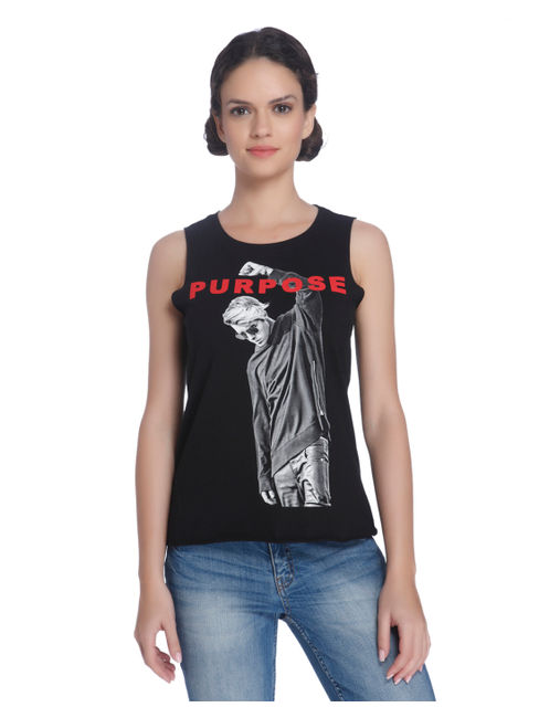Justin Bieber Black Sleeveless T-Shirt