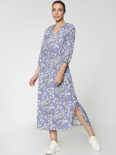 Blue All Over Floral Print Midi Dress
