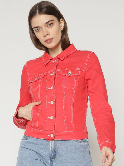 Red Denim Cropped Bomber Jacket