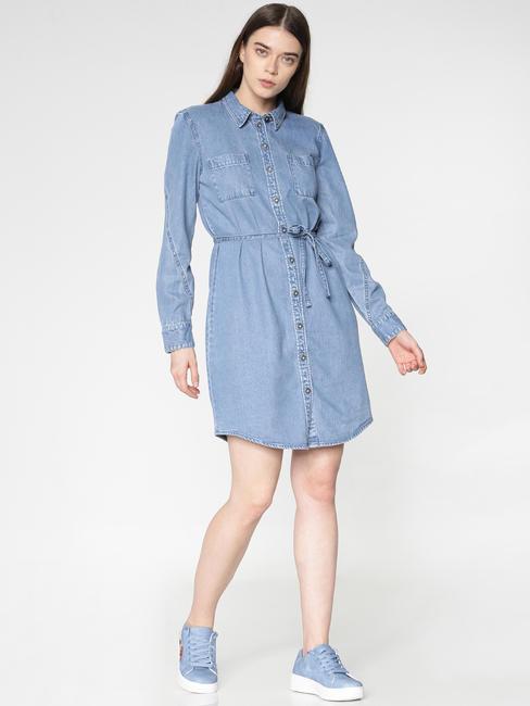 Blue Tie Up Waist Denim Shirt Dress