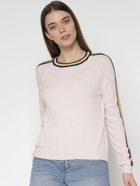 Pink Striped Sleeves Tape Detail Slim Fit Pullover