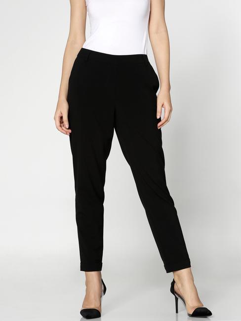Black Mid Rise Elasticated Waist Slim Fit Pants