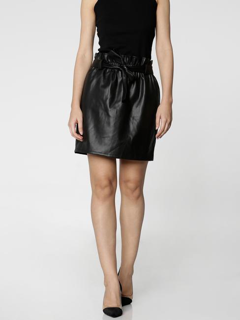 Black Mid Rise PaperBag Waist Mini Skirt