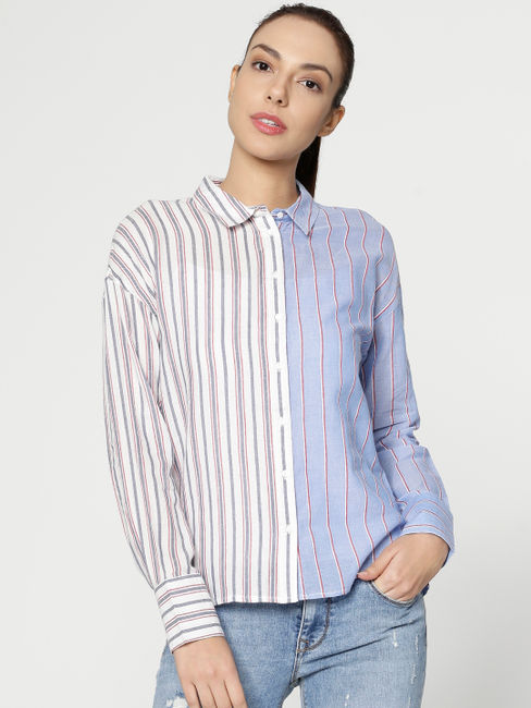 White Colour Blocked Striped Shirt