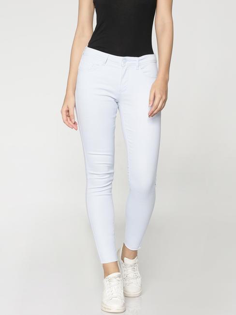 Light Blue Mid Rise Ankle Length Slim Fit Pants