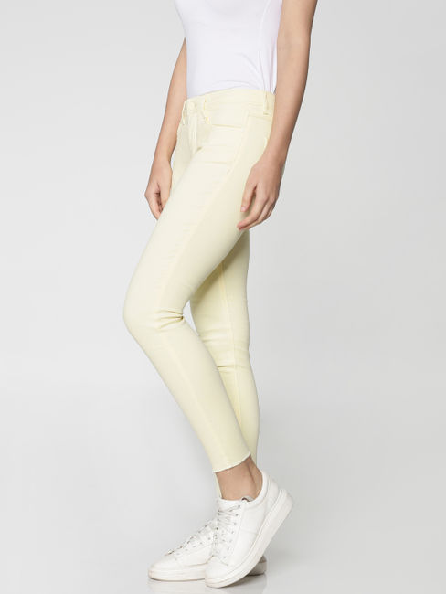 Yellow Mid Rise Ankle Length Slim Fit Pants