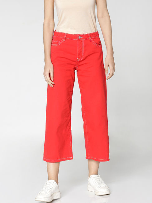 Red Mid Rise Cropped Comfort Fit Jeans