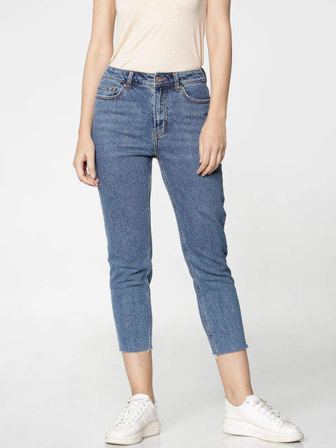 Blue High Waist Cropped Slim Fit Jeans