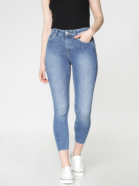 Blue Mid Rise Striped Skinny Fit Jeans