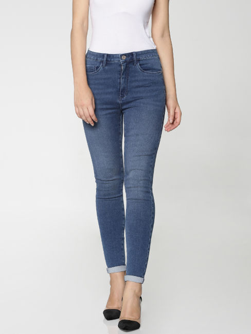 Dark Blue Mid Rise Washed Ankle Length Skinny Fit Jeans