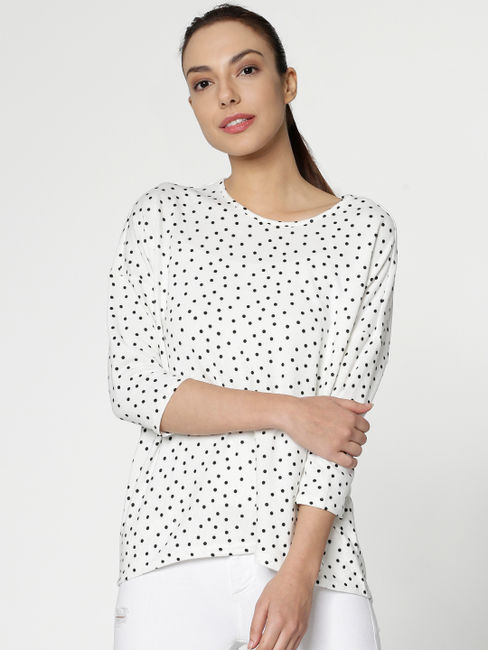 White All Over Dotted Print Hi Low Hemline T-shirt