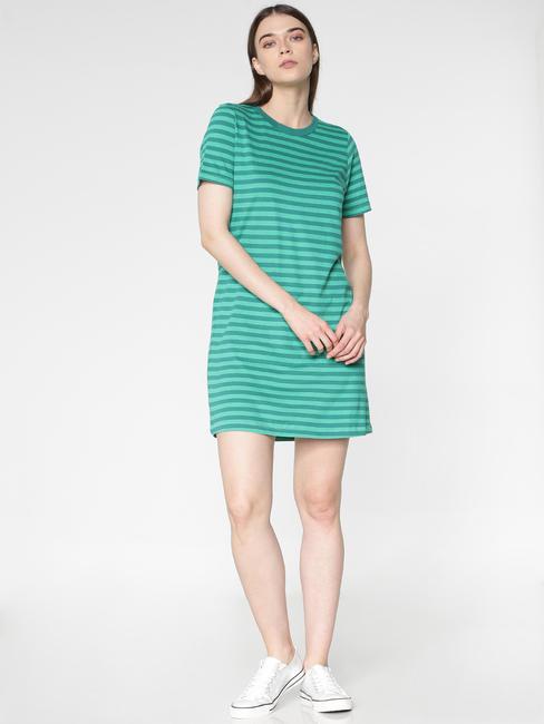 Green Striped Mini Shift Dress