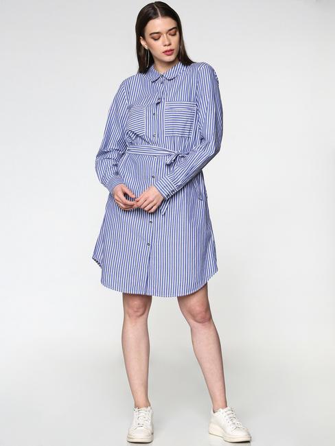 Blue Striped Tie Up Waist Patch Pocket Shirt Dress