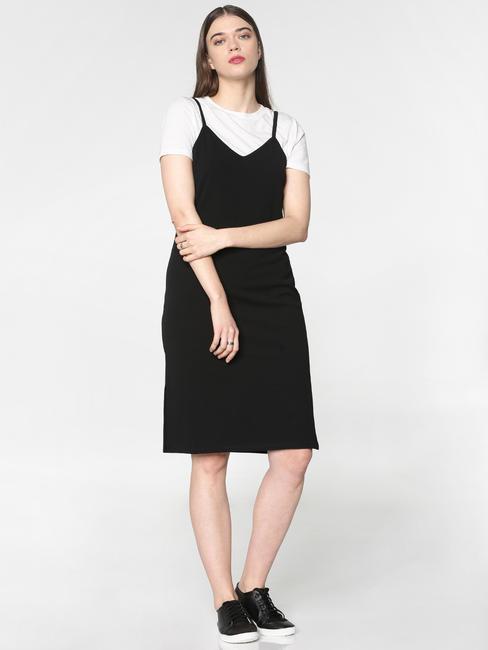 Black V Neck Spaghetti Bodycon Dress