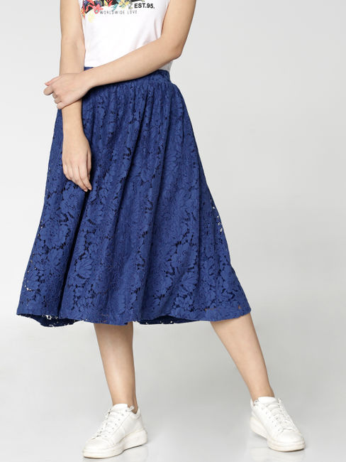 Blue Low Waist Lace Flared Midi Skirt