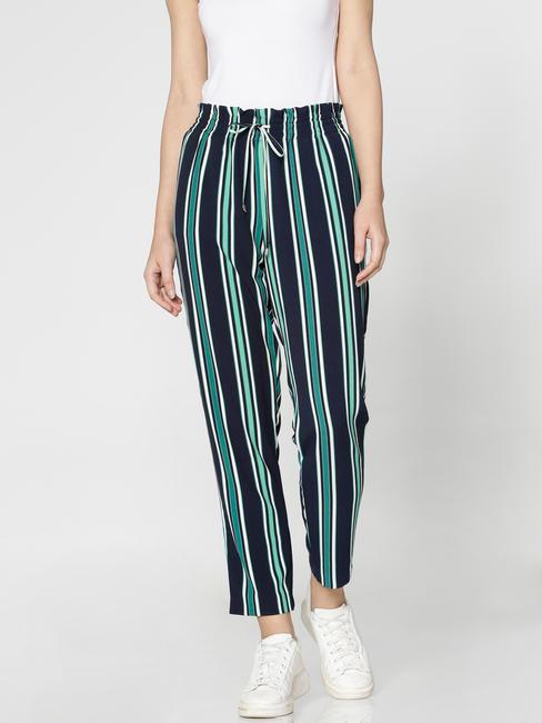 Navy Blue Colour Blocked Striped Low Waist Drawstring Pants