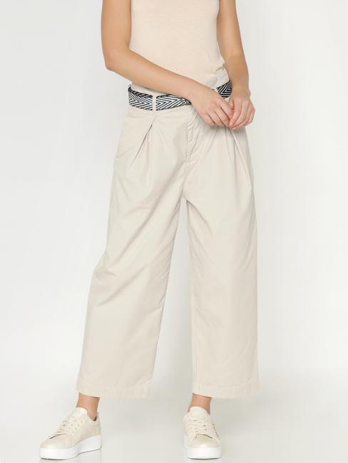 Beige Low Rise Loose Fit Wide Leg Pants