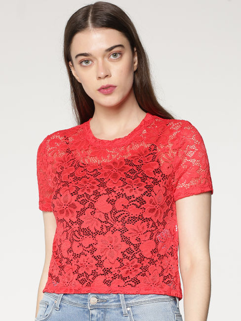 Red Lace Cropped Top