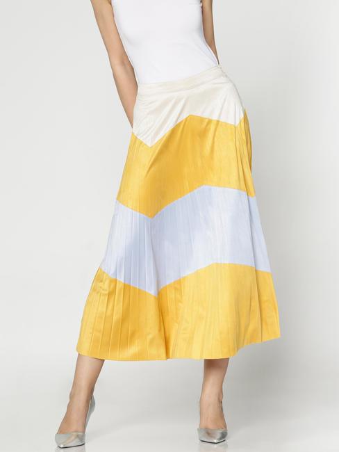 Yellow Colour Blocked Mid Rise Chevron Print Pleated Midi Skirt