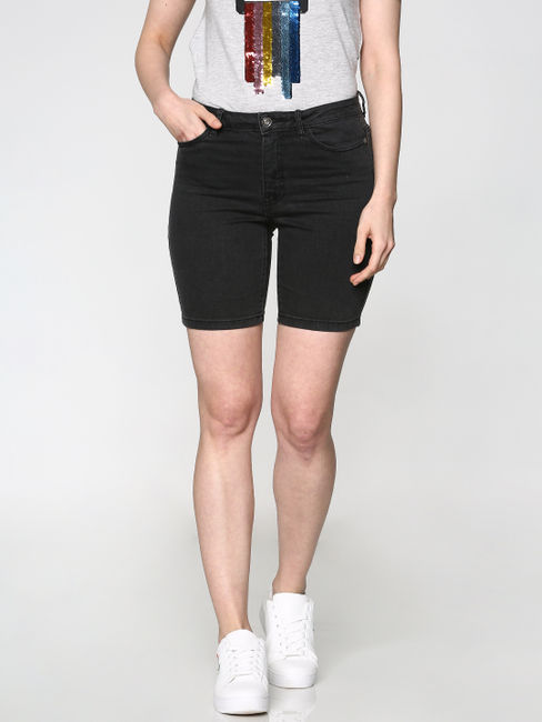 Black Low Rise Denim Shorts
